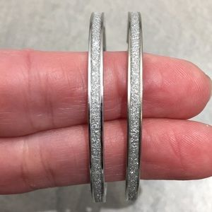 """NWT Large 2"""" Sparkly Fashion Silver Tone Hoops"""